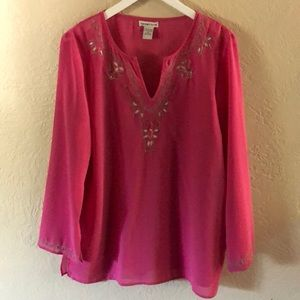 Notations Embroidered Blouse/tunic long sleeves XL